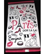 3-Pc French Bulldog PARIS Eiffel Tower Velour Bath Hand Towels Wash Clot... - $39.99