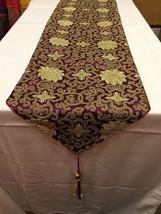 Tibetan silk brocade Maroon Lotus design table shrine cloth/with blessed... - $24.00