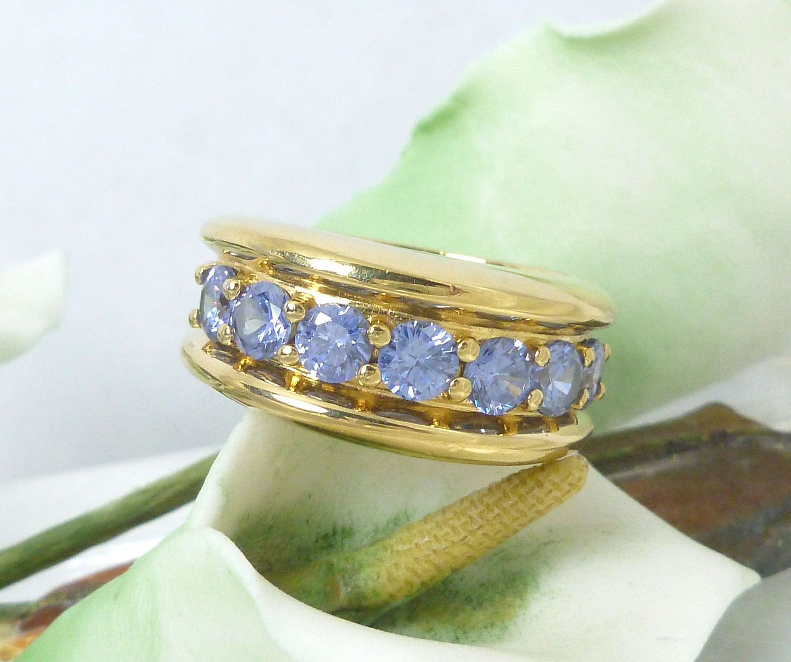 Technibond Tanzanite CZ Ring 18K Yellow Gold over Sterling Size 7