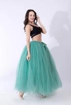 Women RAINBOW Maxi Skirt Drawstring Waist Mint Gray Maxi Tulle Skirt Petticoats image 11