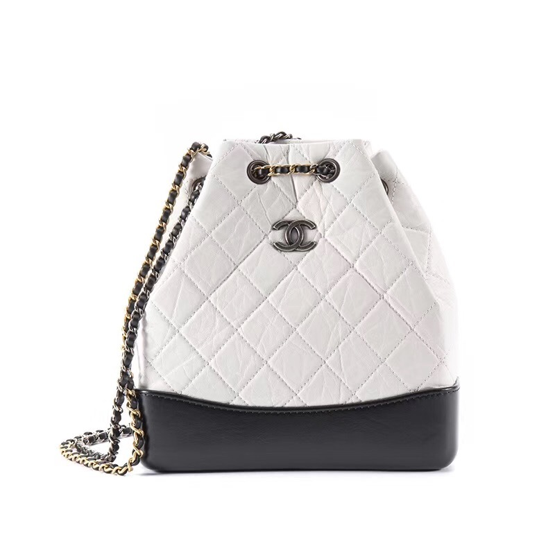 8aefd62b09bc BNIB 2019 Chanel White Black Gabrielle Quilted Leather Bucket Bag ...