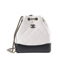 BNIB 2019 Chanel White Black Gabrielle Quilted Leather Bucket Bag RECEIPT