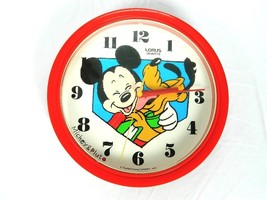 Vintage Mickey Mouse and Pluto Walt Disney Co. Hanging Red Clock Japan 1... - $44.50