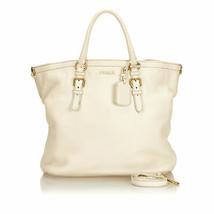 Pre-Loved Prada White Ivory Others Leather Vitello Daino Satchel Italy - $718.21