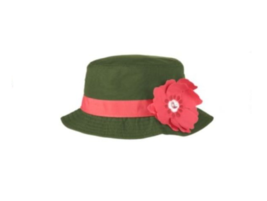 Gymboree Friendship Camp Bucket Sun Hat Olive Green Flower Sz 3-4 NWT - $2.97