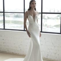 New Modern Modern Style Deep V Neck Sparkly Lace Trumpet Mermaid Wedding Dress w image 1