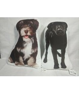 2 Dog Cushion Pillows Printed Terrier & Black Lab Cuddly Pictures New w/... - £10.48 GBP