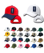 BLANK DECKY Deluxe Curve Bill Baseball Hat 25 colors Solid /2 Tone Hats ... - £4.50 GBP