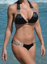 Beach Bunny Swimwear Bikini BLack Shooting Stars Crystals, M Top, M Bottom - $173.24