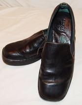 Born Black Leather Slip On Shoes Womens 8 1/2 M W 8.5 Square Toe Classic - $34.71