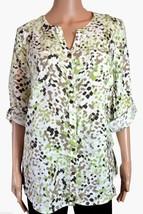 JM Collection Womens Speckle Blur Green Linen Button Down Shirt Size 14 - $14.30