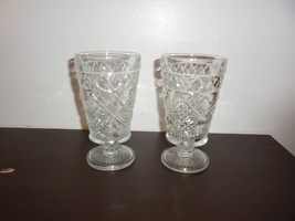 "2 Vintage Hazel Atlas ""Big Top"" Peanut Butter 10 oz Footed Glasses - $7.91"
