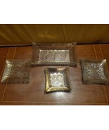 4 Piece Set of George Briard Glass Guild Vintage MCM Snack Trays Mid Cen... - $78.99