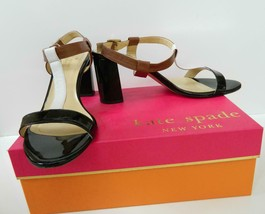 Kate Spade Sandals T- Strap Heels Black White Tan Leather Patent Heel 9 1/2 - $57.77