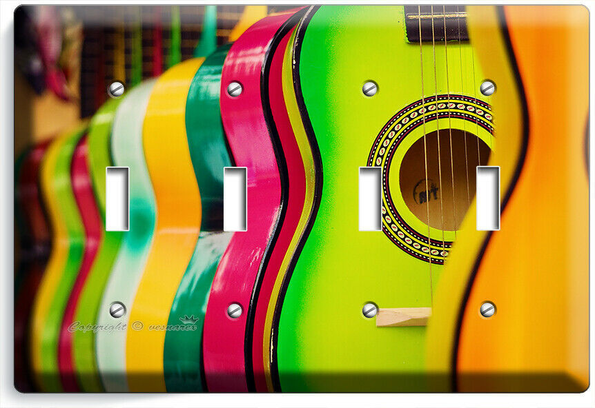 COLORFUL ACOUSTIC GUITARS 4 GANG LIGHT SWITCH WALL PLATES MUSIC STUDIO ART DECOR