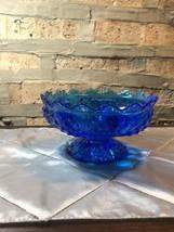 Vintage FENTON Colonial/Cobalt Blue round candle holder - $25.00