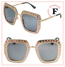 GUCCI HOLLYWOOD FOREVER 0115 Gold Pink Crystal Stud Oversized Sunglasses... - $840.51