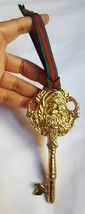 Santa Claus faux gold metal Christmas Tree Ornament • pre-owned • gorgeous - $13.06