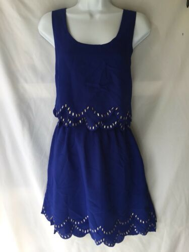 Dress LUSH Cobalt Blue Open Back Scallop Hem Sequin Trim No Sleeve Size L