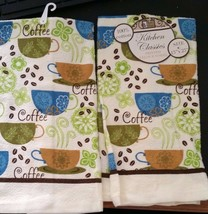 "2 SAME PRINTED COTTON KITCHEN TOWELS, 15"" x 25"", COFFEE CUPS - $9.89"