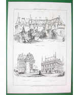 ARCHITECTURE PRINT : Renaissance Castles France Langeais and Azey le Rideau - $9.45