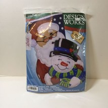 "Winter Pals Felt Stocking Kit Design Works 16"" Santa Snowman - $24.18"