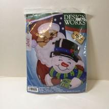 "Winter Pals Felt Stocking Kit Design Works 16"" Santa Snowman - $24.18"