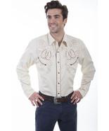 Men's Western Shirt Cream Long Sleeve Rockabilly Country Cowboy Horseshoe - $87.38
