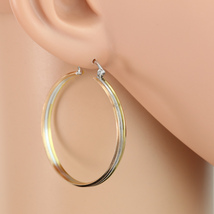 Stylish Tri-Color Silver, Gold & Rose Tone Hoop Earrings- United Elegance - $14.99