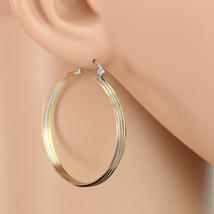 Stylish Tri-Color Silver, Gold & Rose Tone Hoop Earrings- United Elegance - $15.99