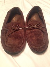 DOCKERS Mens Brown Suede Moccasin style Slippers Large 9.5 - 10.5 Shoes - $19.80