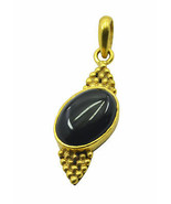 fascinating Black Onyx Gold Plated Black Pendant genuine jaipur US gift - $12.86