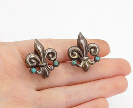 MEXICO 925 Silver - Vintage Antique Turquoise Fleur De Lis Drop Earrings... - $30.91