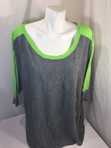Primary image for Lene Bryant Women Blouse Loose Fit Thin Fabric Green Gray 3/4 Sleeve Size 18/20