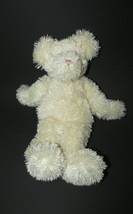 Boyds bears Plush Baby rattle cream off white teddy bear pink stitched nose toy - $6.92