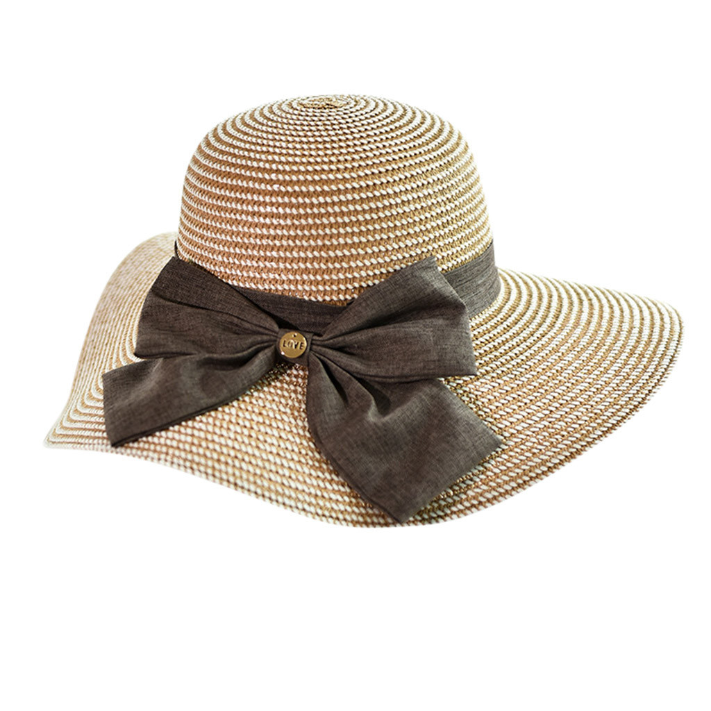 CHANSGEND Ladies Women Casual Solid Wide Brimmed Hats Floppy Foldable Straw Beac image 2