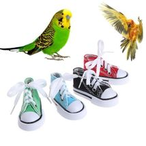 Mini Canvas Shoes Bird Toys Chew Bite Decoration Hanging Cage Funny Parr... - $13.12 CAD