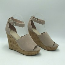 Marc Fisher 10M Natural Taupe Haya Scallop Ankle Strap Espadrille Wedge Sandal - $19.99
