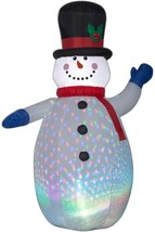 6.5 ft Red White Inflatable Airblown Color Flash Snowman Scarf Christmas... - $68.57
