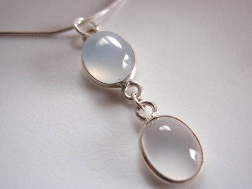 Primary image for Blue CHALCEDONY 925 Silver Necklace Corona Sun Jewelry