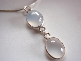 Blue CHALCEDONY 925 Silver Necklace Corona Sun Jewelry - $22.72