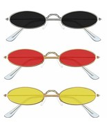 3 Pieces Vintage Oval Sunglasses Metal Frame Oval Sunglasses Slender Candy - $14.11