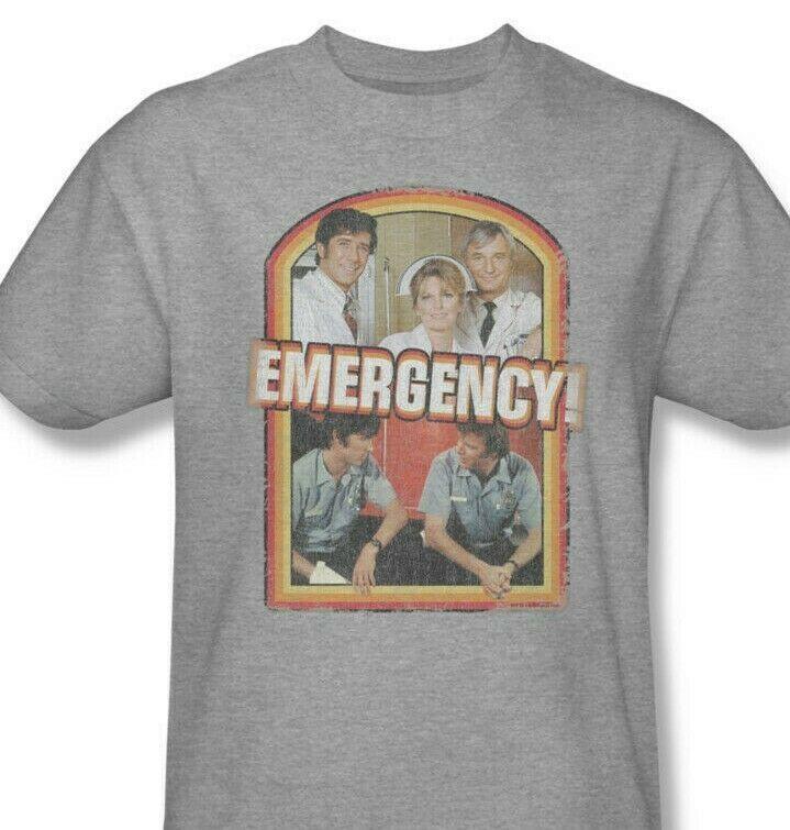 Emergency! T-shirt retro 70s 80s classic TV graphic printed NBC190 Heather Grey