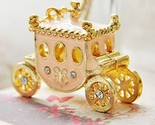 Women Enamel Princess Carriage Pendant Necklace Fairy Tale Magic Pumpkin Cart