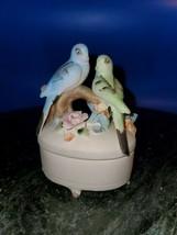 Vintage Lefton Love Birds Trinket Jewelry Box Ceramic Blue Green Keepsake - $22.28