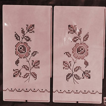 Bucilla Kit 2 Pink Linen Guest Towels Rose Roses Cross Stitch Stitchery - $19.87