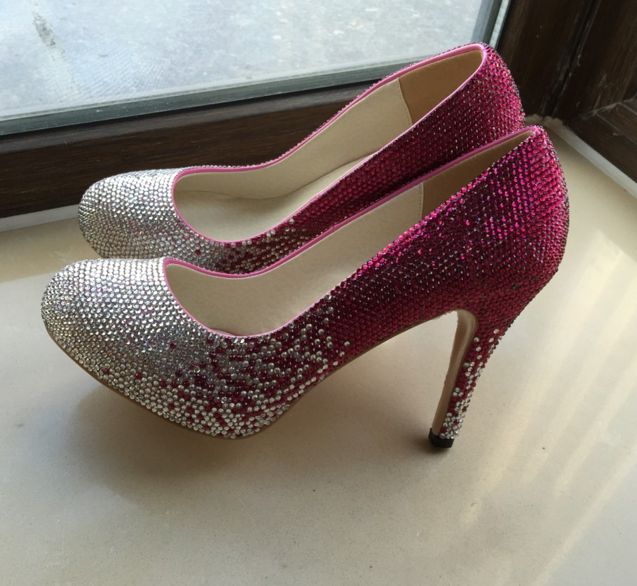 """Crystal Wedding Shoes Sparkle Bridal Shoes Bling Crystal 4"""" High Women Heels"""