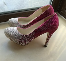"Crystal Wedding Shoes Sparkle Bridal Shoes Bling Crystal 4"" High Women H... - $135.00"