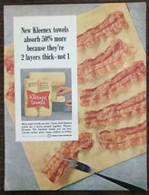1965 Kleenex Paper Towels Print Ad Two Layers Thick Absorb More Bacon St... - $12.69