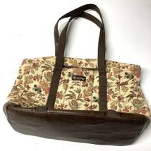 Longaberger Tote Purse Bag Collectible Brown Autumnal Floral - $19.79